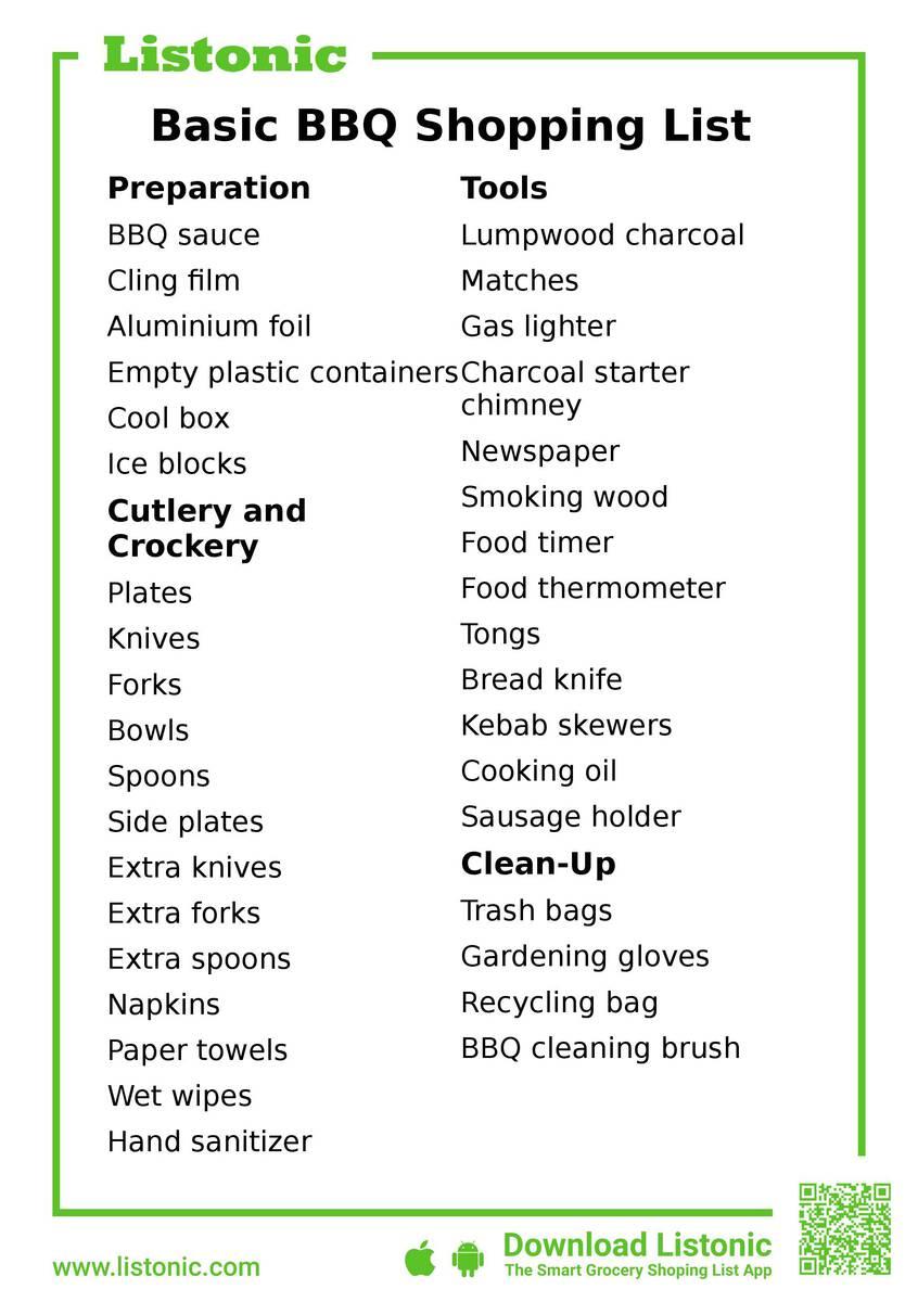 basic bbq shopping list - template