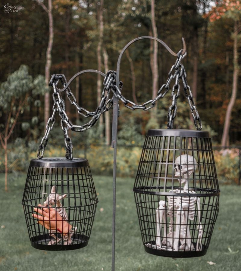 Halloween yard decorations - skeleton cage
