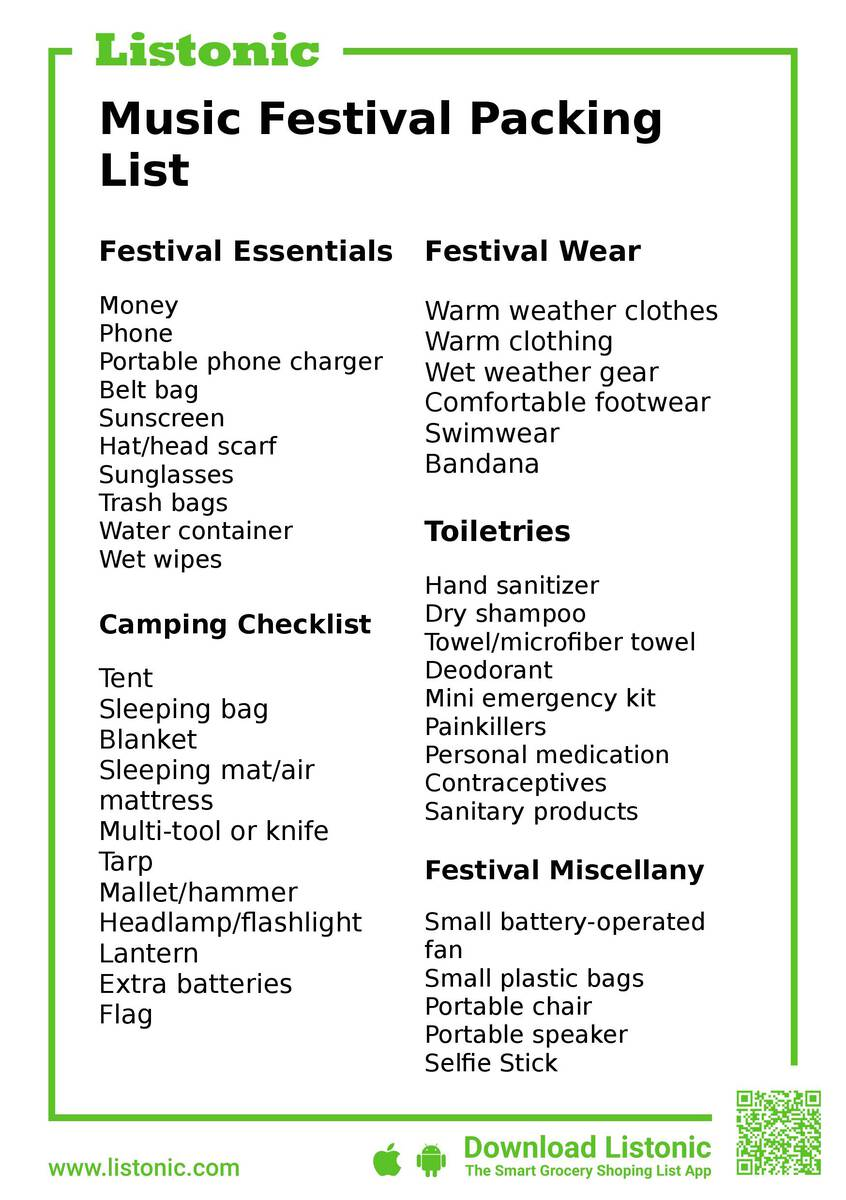 music festival packing list