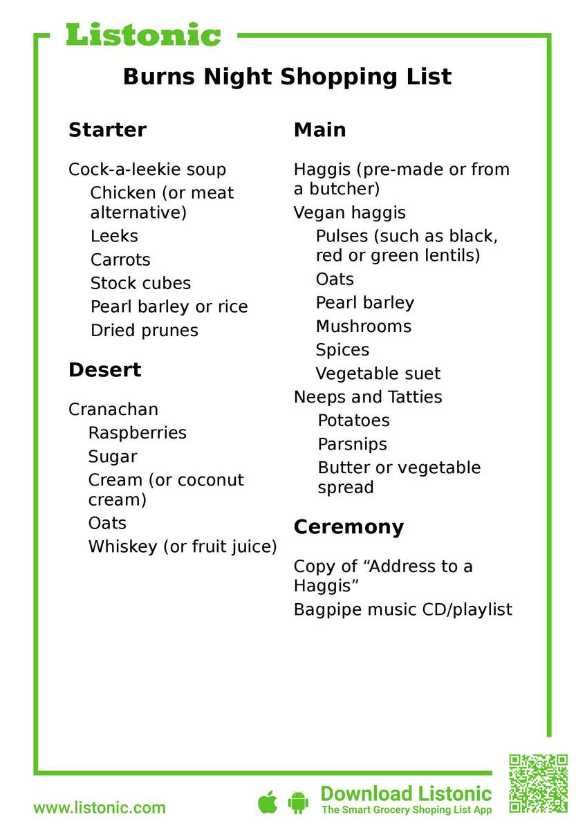 burns night shopping list - template