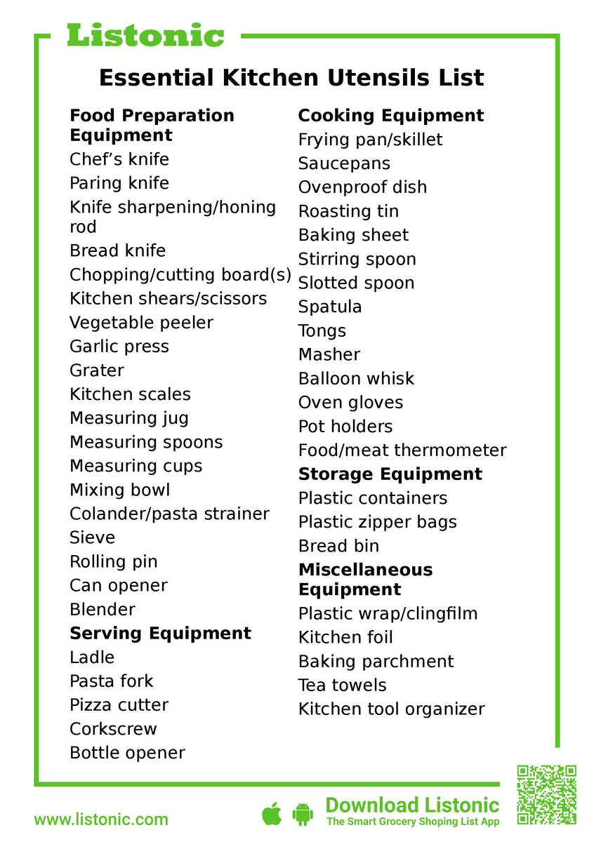 kitchen utensil list of 46 essential cooking items