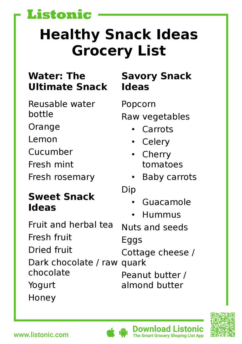 healthy snack ideas - template