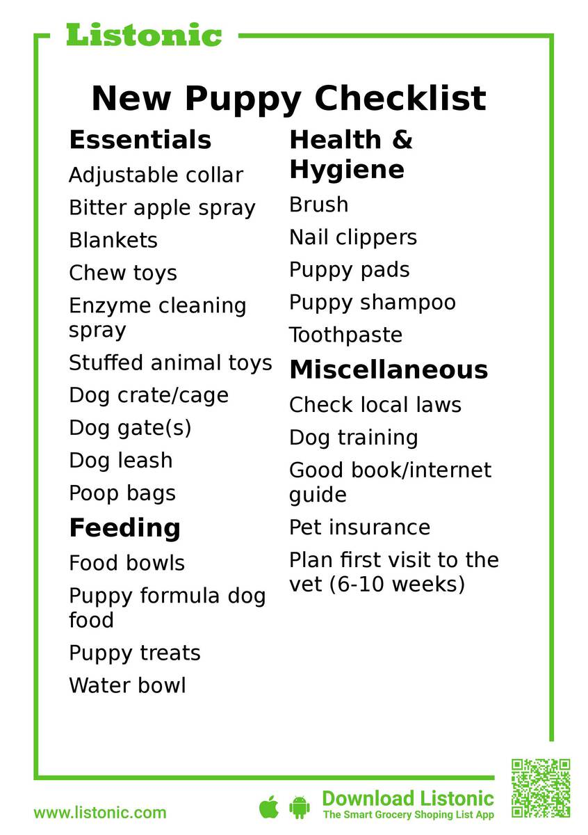 new puppy checklist - template