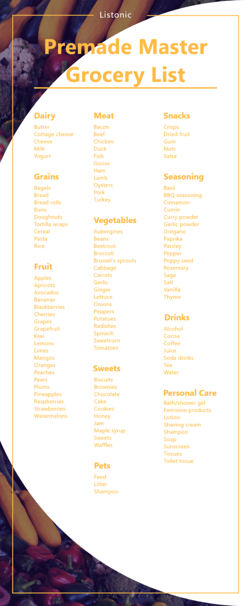 premade master grocery list - template
