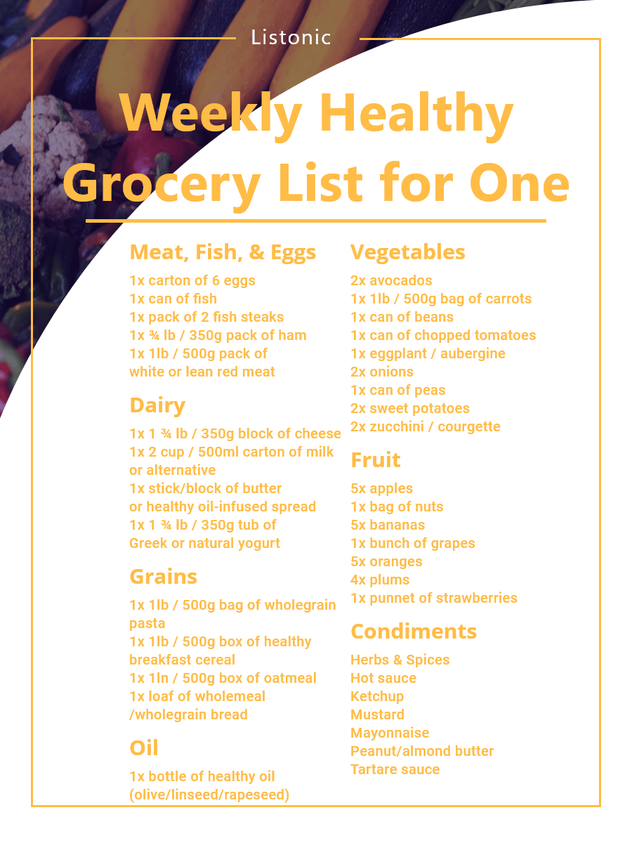 healthy grocery list for one - template