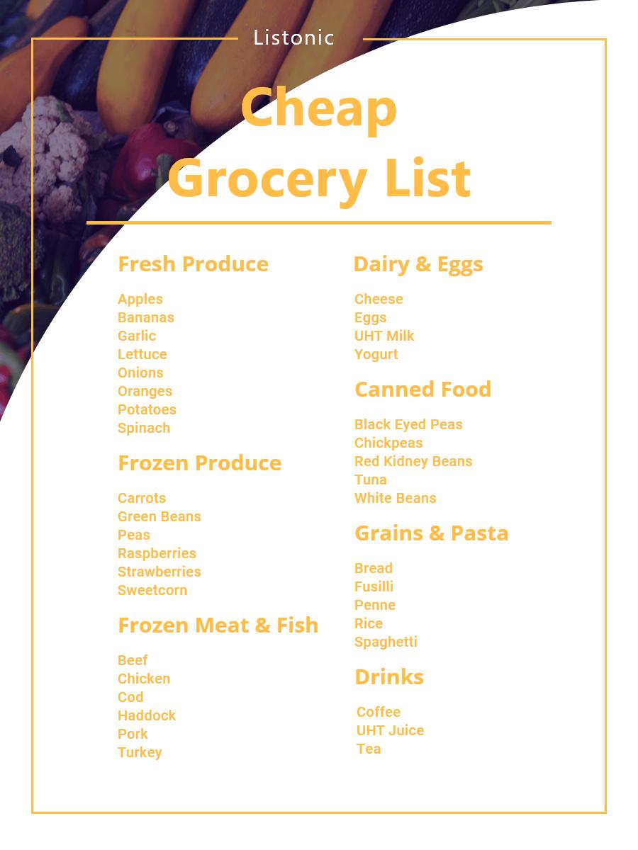 cheap grocery list - template
