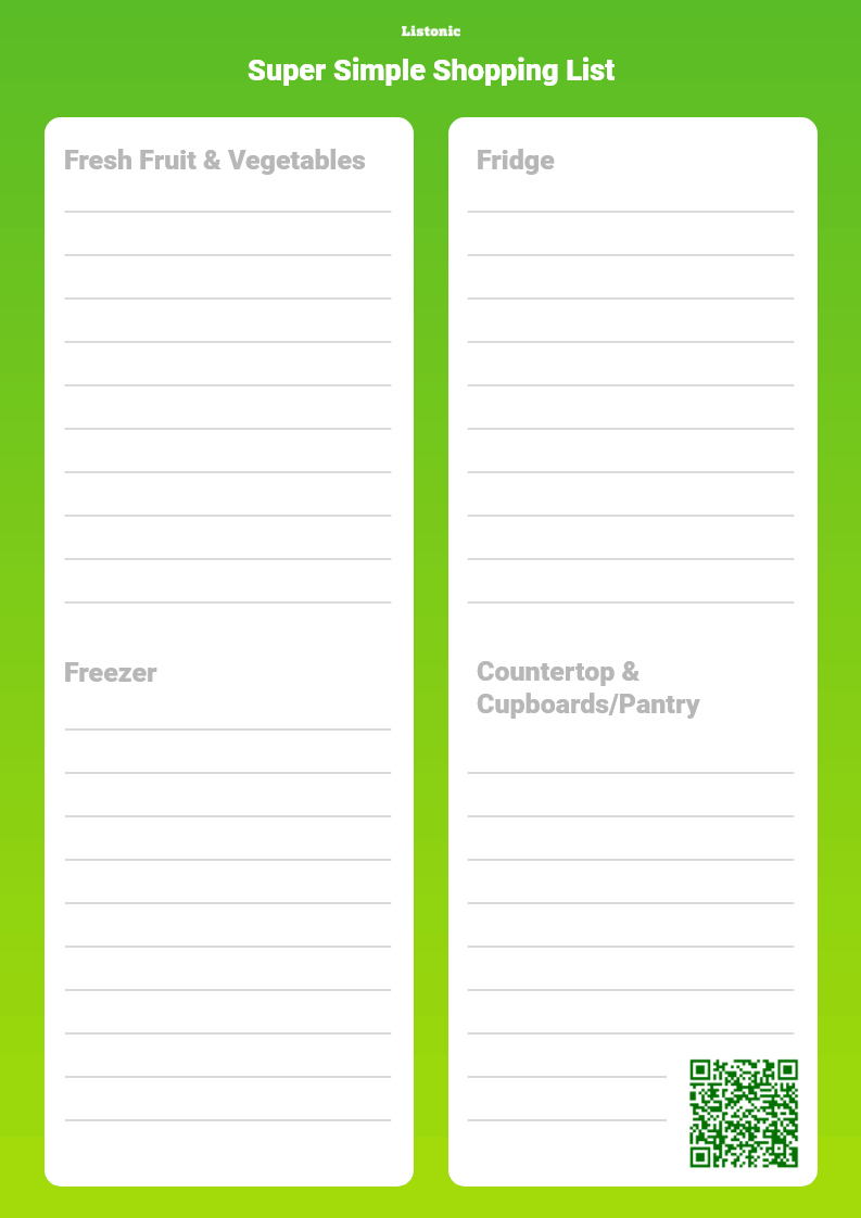 super simple shopping list - template