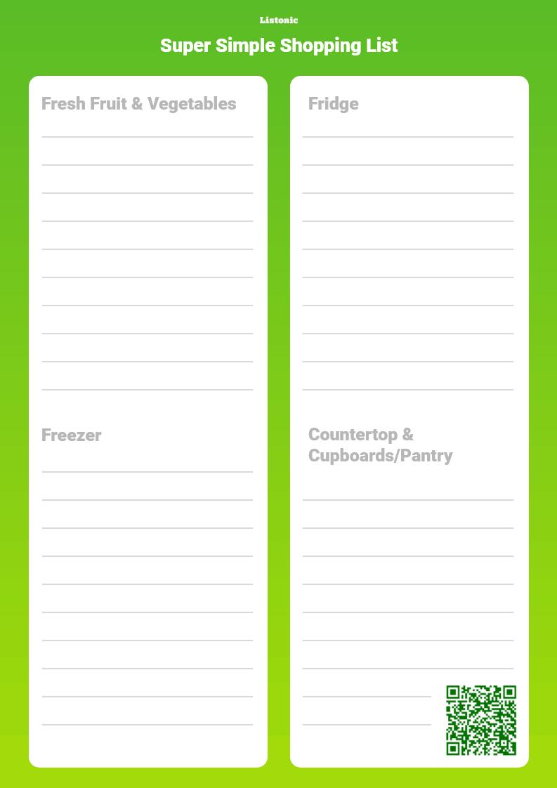super simple shopping list - template