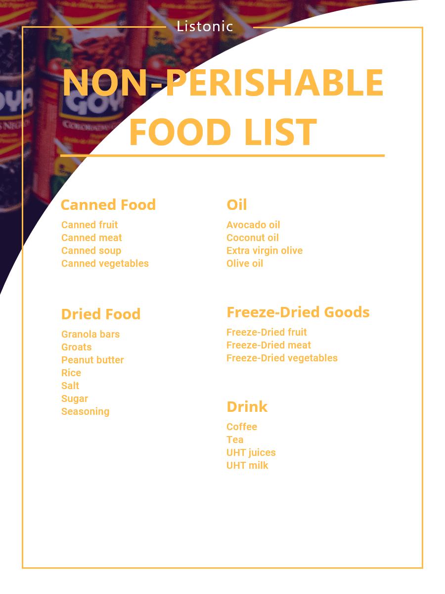 non-perishable food list - template