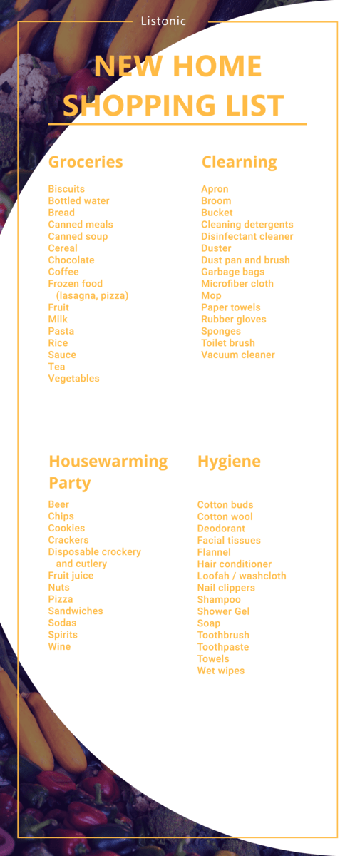 new home shopping list - template