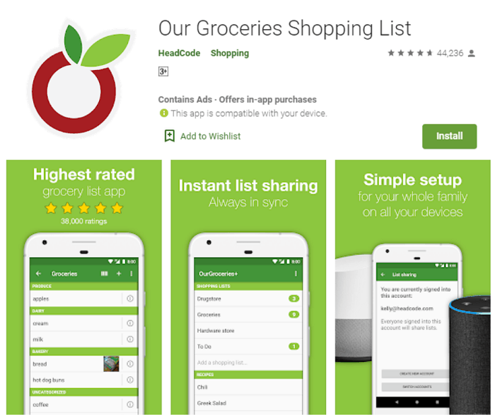 our groceries - best shopping list apps