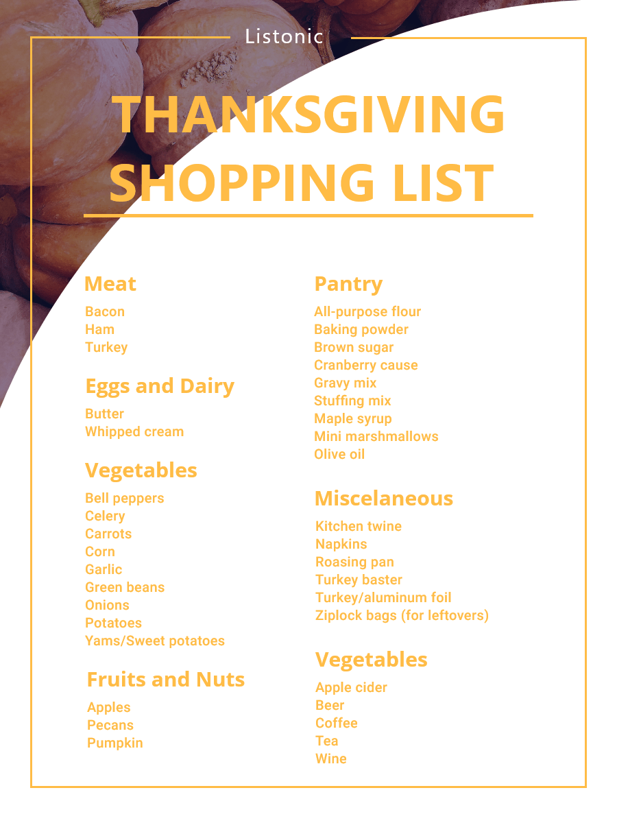 Thanksgiving Shopping List - template